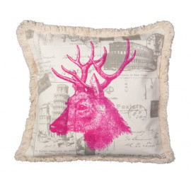 Pink Elk Fringed Throw Pillow