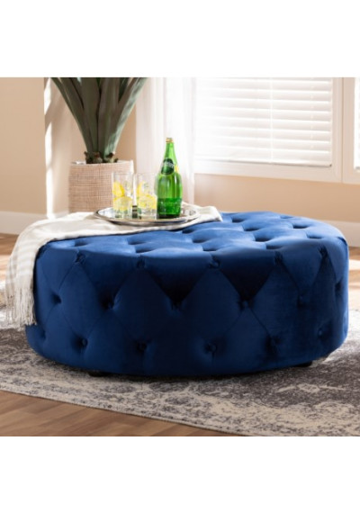 Blue Velvet All Over Tufted Round Coffee Table Ottoman
