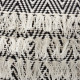 Black & White Diamond Pattern Rows of Tassels Square Pouf