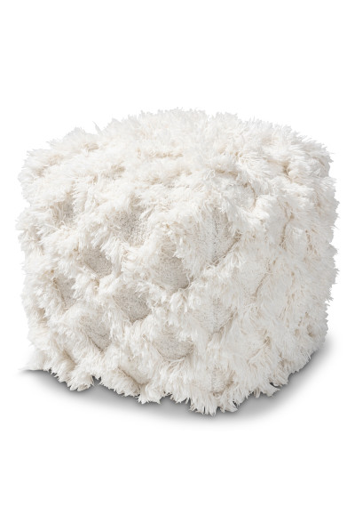 Ivory Shaggy Handwoven Diamond Shapes Square Pouf Footstool