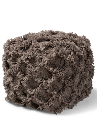 Taupe Shaggy Handwoven Diamond Shapes Square Pouf