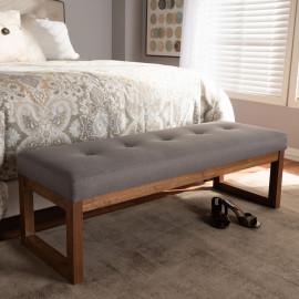 Grey Fabric Walnut Finish Squared Base Bench
