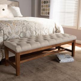 Beige Fabric Walnut Finish Studded Tufted Bench