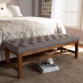 Grey Fabric Walnut Finish Studded Tufted Bench