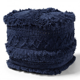 Navy Blue Shaggy Handwoven Square Pouf Footstool