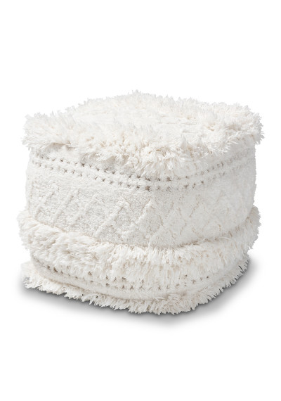 Ivory Shaggy Handwoven Geometric Design Square Pouf Footstool