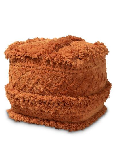 Dusty Orange Shaggy Handwoven Square Pouf Footstool