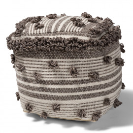 Brown & Cream Handwoven Square Pouf with Knot Embellishments