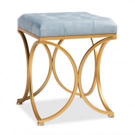 Light Blue Velvet Tufted Top Footstool Ottoman Gold Base