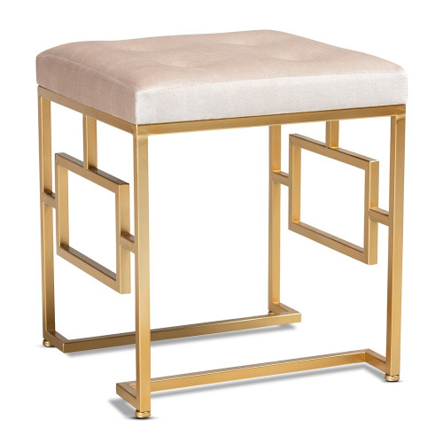 Beige Velvet Tufted Top Footstool Ottoman Gold Geometric Base