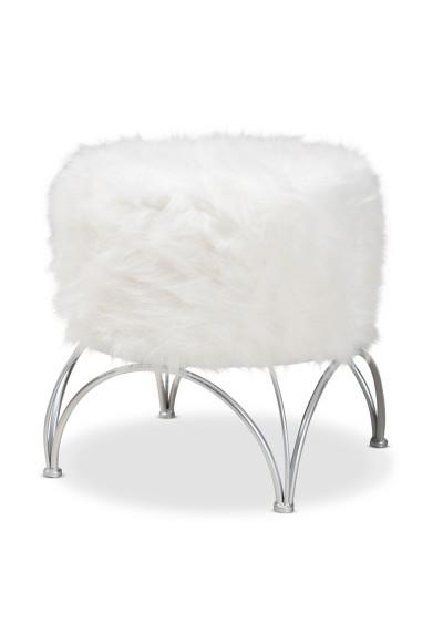 White Faux Fur Top Footstool Ottoman Silver Geometric Base