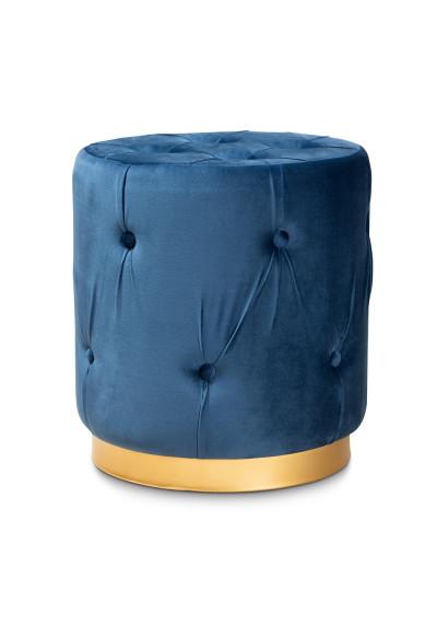 Blue Velvet Tufted Round Footstool Ottoman Gold Base