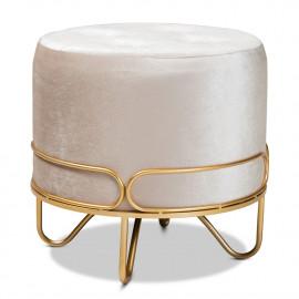 Glam Beige Velvet Tufted Top Footstool Ottoman Gold Base