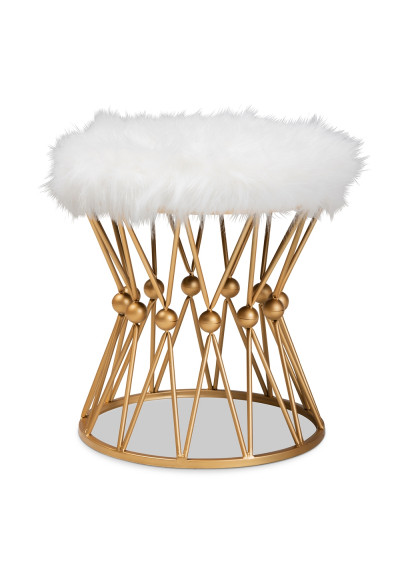 White Faux Fur Fluffy Footstool Ottoman Gold Cage Geometric Base