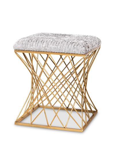Light Grey Crushed Velvet Top Footstool Ottoman Caged Gold Base