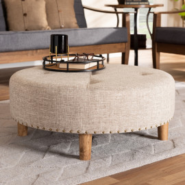 Round Tan Tufted Fabric Ottoman Cocktail Table