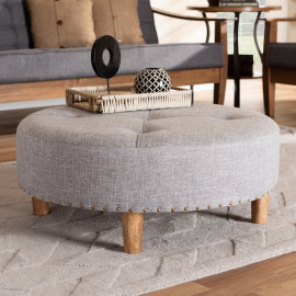 Round Light Grey Tufted Fabric Ottoman Cocktail Table