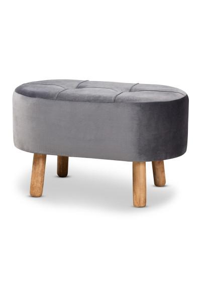 Grey Velvet Tufted Mid Century Wood Splayed Legs Footstool Ottoman