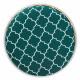 Green Velvet White Quatrefoil Design Round Storage Footstool Ottoman Gold Base