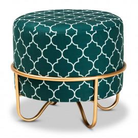 Green Velvet White Quatrefoil Design Round Footstool Ottoman Gold Base