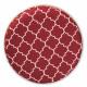 Red Burgundy Velvet White Quatrefoil Design Round Footstool Ottoman Gold Base