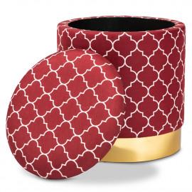 Red Burgundy Velvet White Quatrefoil Design Round Storage Footstool Ottoman Gold Base