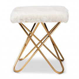 White Faux Fur Furry Top Footstool Ottoman Gold Paperclip  Base