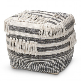 Grey & Cream Handwoven Funky Design Square Pouf Footstool