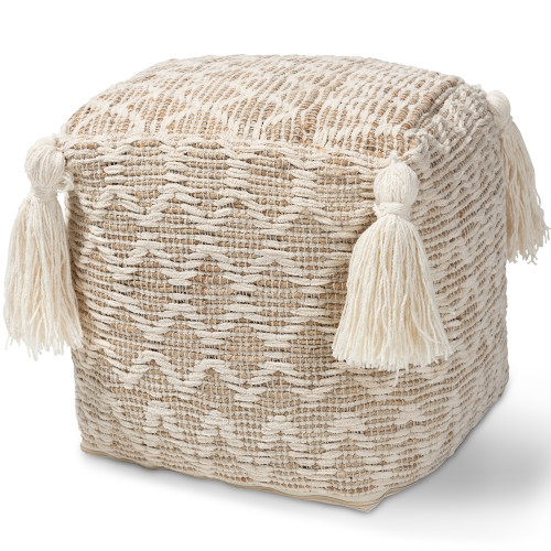 Beige & Ivory Handwoven Square Pouf Footstool with Tassels