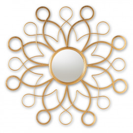 Gold Metal Intertwined Floral Design Wall Mirror
