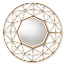 Gold Metal Octagon Shaped Geometric Design Wall Mirror