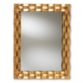 Gold Metal Wavy Strips Rectangle Wall Mirror