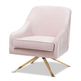 Light Pink Blush Velvet Pleated Gold Leg Glam Lounge Chair