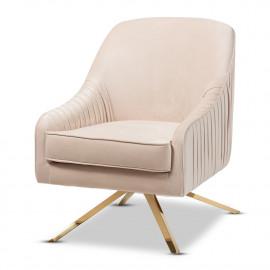 Light Beige Velvet Pleated Gold Leg Glam Lounge Chair