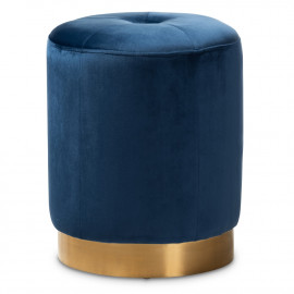 Blue Velvet Top Tuft Round Footstool Ottoman Gold Base