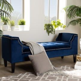 Royal Blue Velvet Silver Studded Tufted Unique Bench