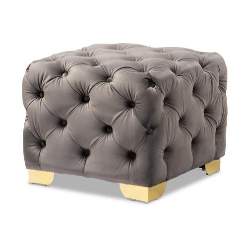 Grey Velvet Tufted Square Footstool Ottoman Gold Base