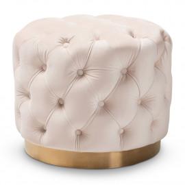 Beige Cream Velvet Tufted Round Footstool Ottoman Gold Base