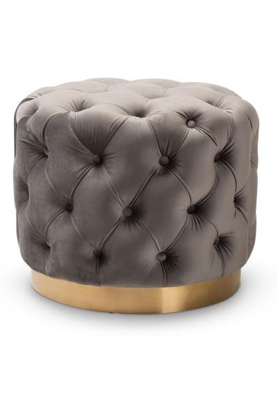 Grey Velvet Tufted Round Footstool Ottoman Gold Base