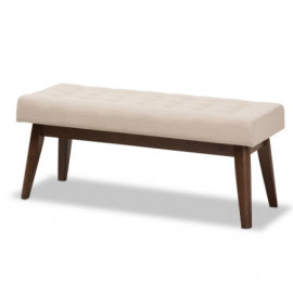Beige Fabric Walnut Finish Wood Mid Century Bench