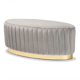 Grey Velvet Channel Tufted Oval Coffee Table Ottoman