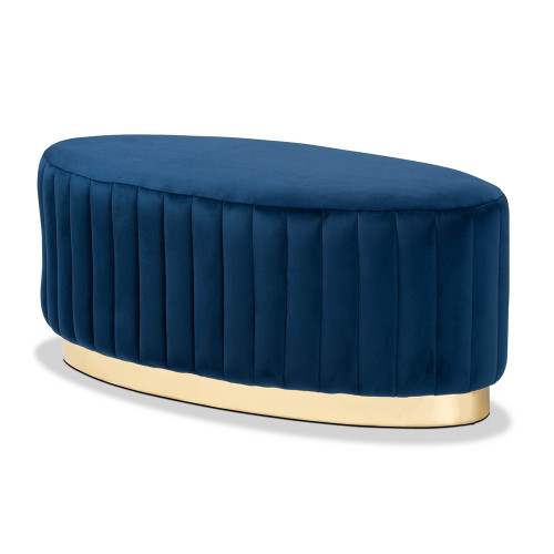 Blue Velvet Channel Tufted Oval Coffee Table Ottoman