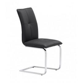 Sleek Chrome & Black Leatherette Dining Chair Set 2