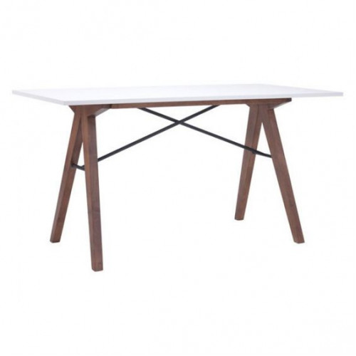 Mid Century Walnut Saw Horse Desk White Top