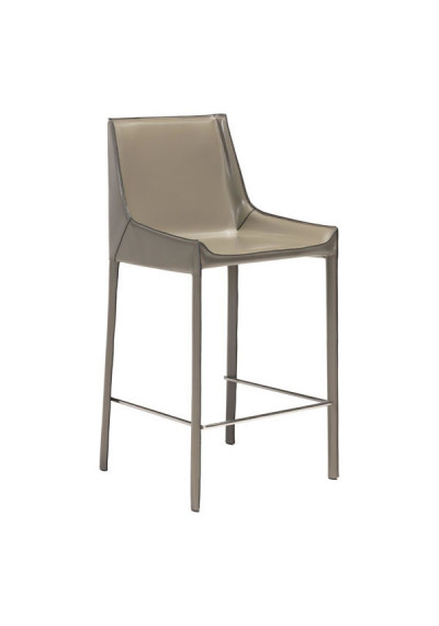 Stone Grey Recycled Leather Counter Bar Stool Set of 2