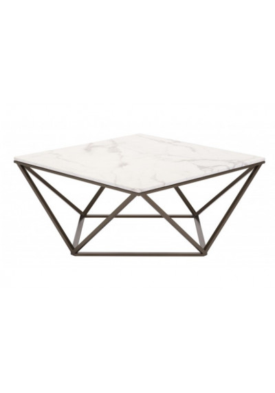Square White Marble Geometric Dark Brass Base Coffee Table