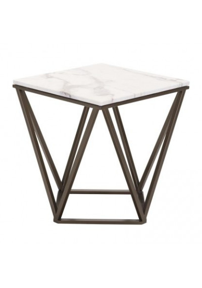 Square White Marble Geometric Dark Brass Base Accent Table