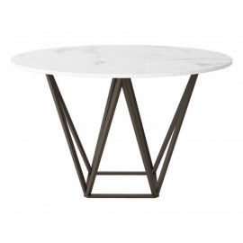 Brass Geometric Base White Marble Top Dining Table