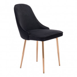 Black with a Sheen Velvet Dining Chair Gold Legs