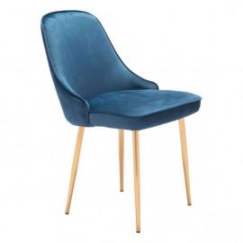 Blue with a Sheen Velvet Dining Chair Gold Legs